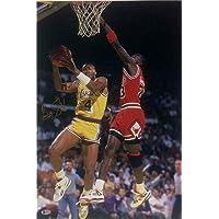 $59 » BYRON SCOTT Signed LA LAKERS 16x24 Photo vs. Michael Jordan ~ Beckett BAS COA - Beckett Authentication