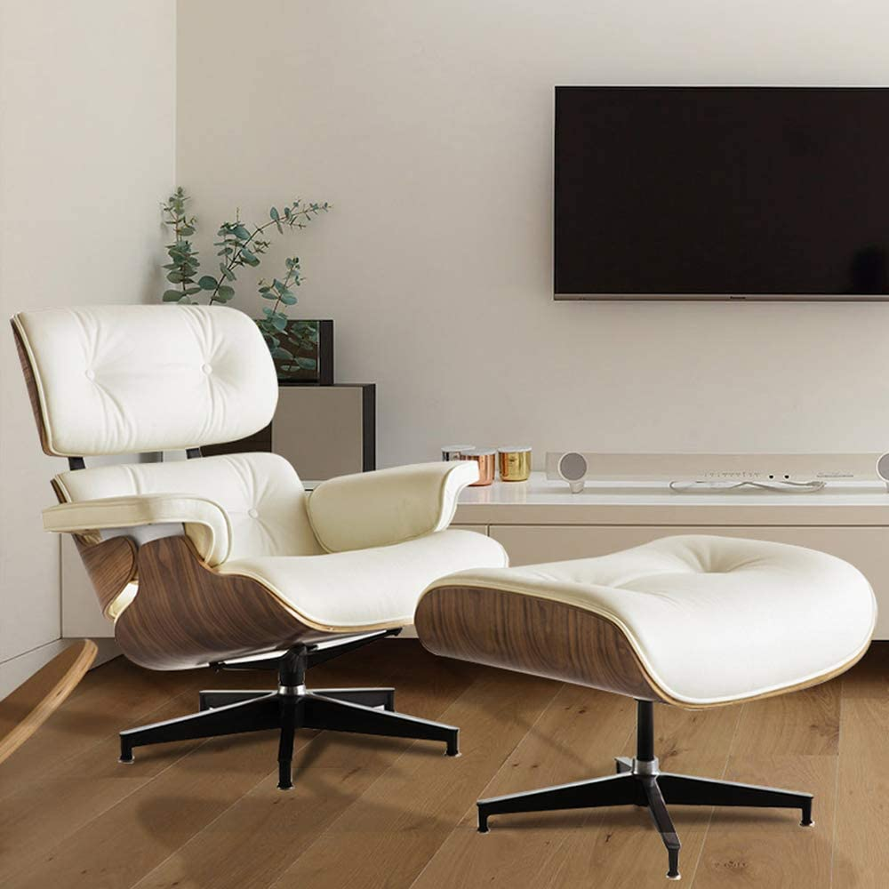 Amazon Com Joybase Recliner With Ottoman Classic Lounge Chair Genuine Leather Recliner Wood Bending Plate Beige Leather Walnut Kitchen Dining