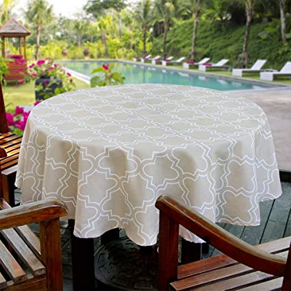 Aoohome 60 Inch Round Tablecloth, Polyester Spill-Proof Water Repellent  Geometric Quatrefoil Table Cloth for Holiday Party, Machine Washable, Heavy  ...