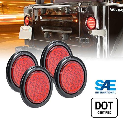 4pc 4 Inch Round LED Trailer Tail Lights - 24 RED LED Turn Stop Brake Trailer Lights for RV Jeep Trucks (DOT Certified, Grommet & Plug)