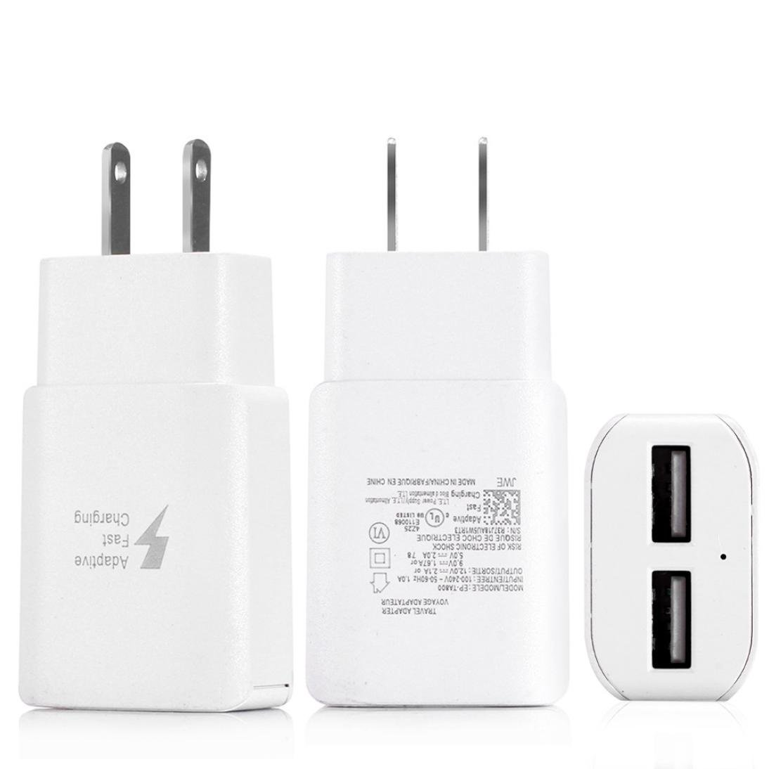 SUKEQ Wall Charger, Dual Ports USB Wall Charger EU/US Plug Adapter Home Travel Power Adapter for iPhone X/8/7/6 Plus, iPad, Samsung Galaxy S9 S8 Plus (US Plug) by SUKEQ (Image #2)