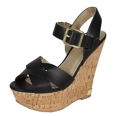 fa0b3c9a6 Lustacious Women's Peep Toe Strappy Platform Cork Wedge Sandal Side Buckle,  Black Leatherette, 8.5