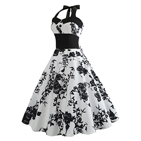2e3c658bc3362b Jaminy Kleid 50er Jahre Rockabilly Damen Vintage Blumendruck Plaid Bodycon  Ärmellos Casual Abend Prom Swing Kleid Röcke Petticoat (S~XXL)