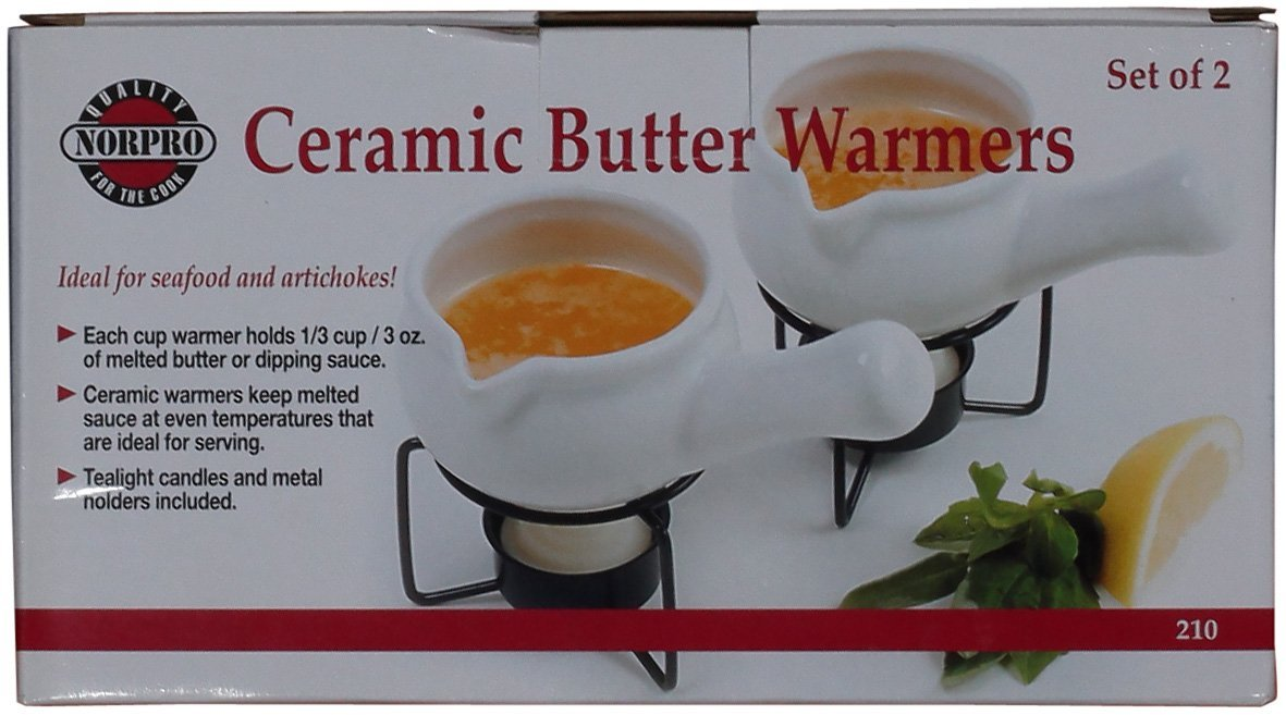 Norpro 210 Ceramic Butter Warmers, Set of 2, 1/3 cup/3 oz. White by Norpro (Image #2)