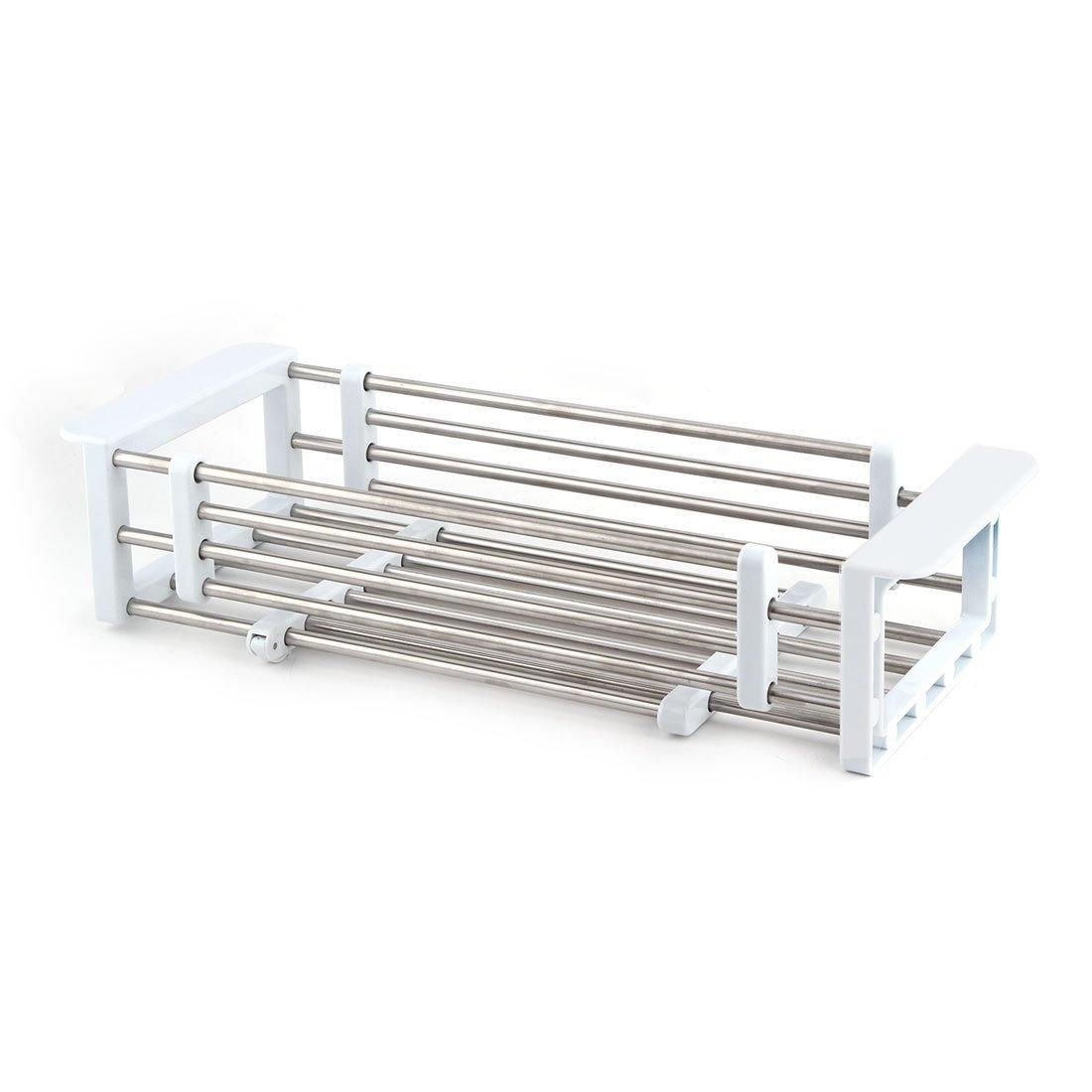 Amazon.com: DealMux metal Cozinha telescópico Dish drenagem rack Sink Bandeja Colander Secagem Titular Branco tom de prata: Kitchen & Dining