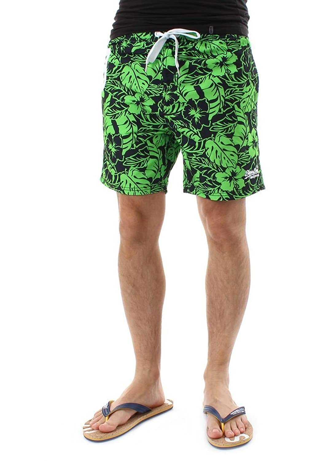 Superdry Men's Premium Print Water Polo Swim Shorts Fluorescent Lime Banana Leaf