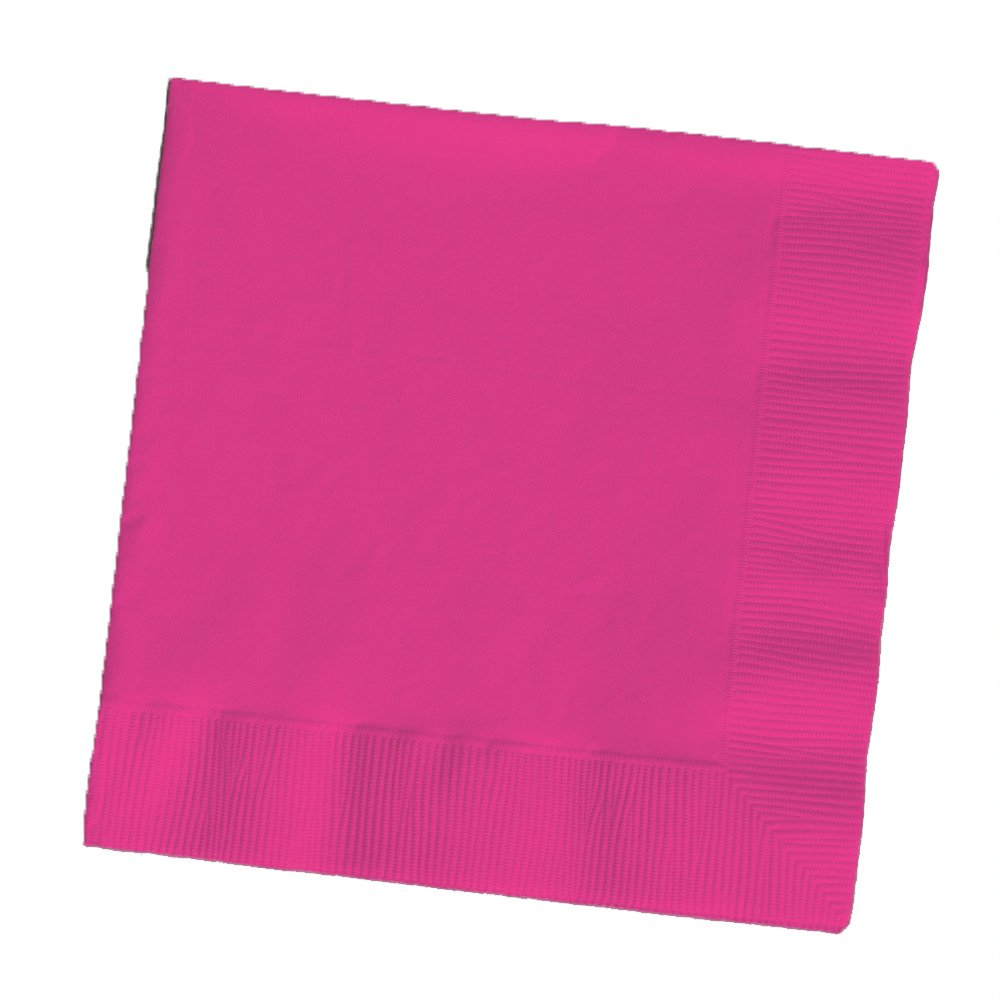 Creative Converting Touch of Color 2-Ply 50 Count Paper Beverage Napkins, Hot Magenta