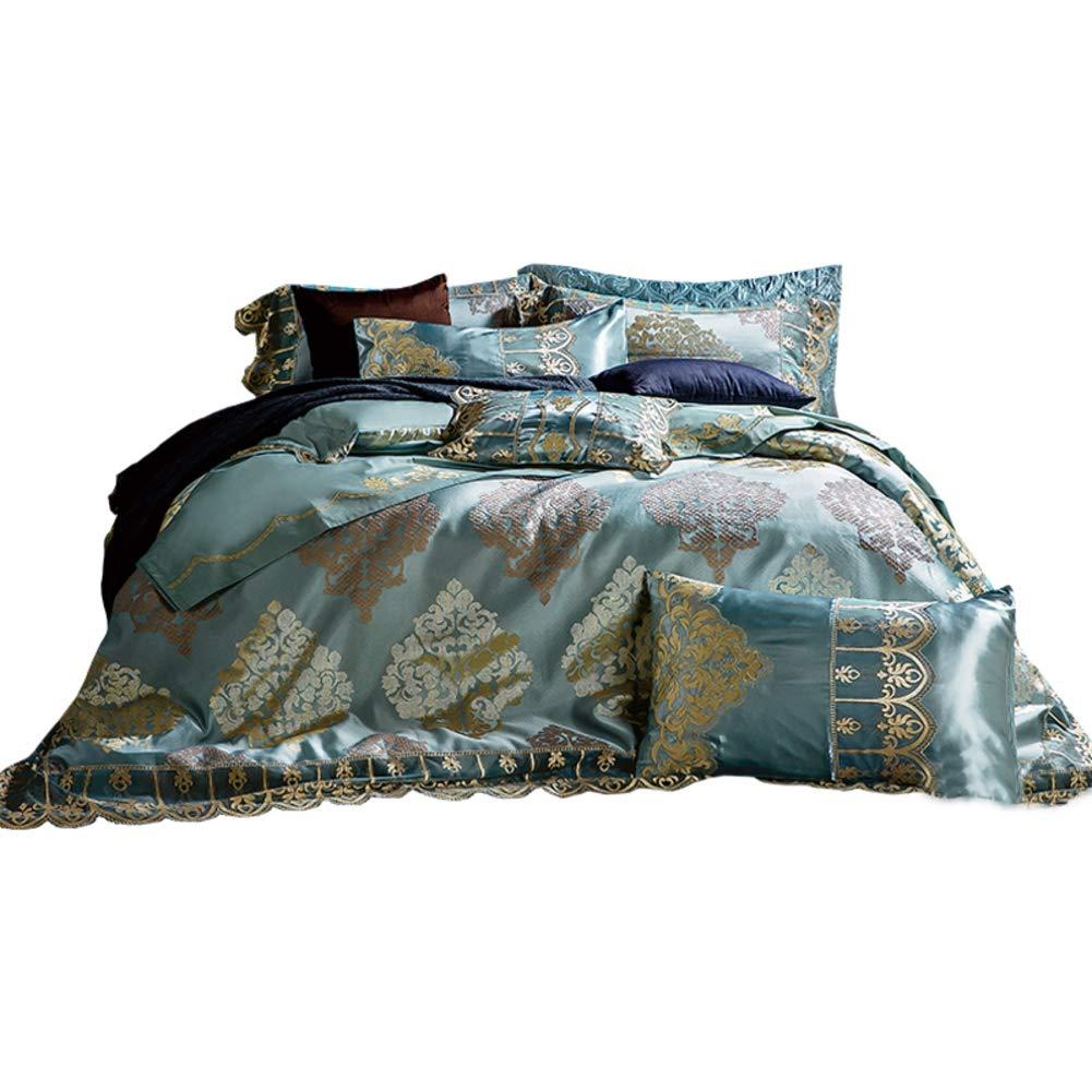 ヨーロピアンスタイル ジャカード 寝具カバーセット, エンボス加工 洗浄綿 しわになりにくく ホテル 生地 10 ピース 掛け布団 枕カバー すべての季節-a B07T4GPSPW