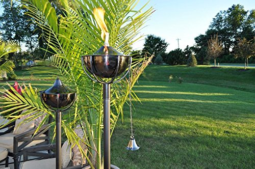 Starlite Garden and Patio Torche Maui Grande Garden Black Nickel Torch (Set of 2), Pewter