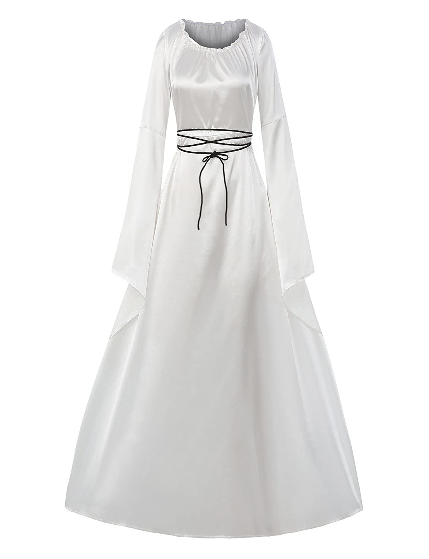 Womens Halloween Cosplay Costume Renaissance Medieval Irish Gothic Victorian Dress white Halloween