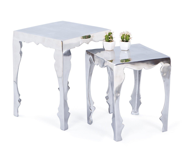 Links - Industry A36 - Set 2 tavolini. Dim: 39, 9x39, 5x50 h cm. Col: Argento. Mat: Metallo. 13casa 87300525 F00010601087 tavolino; soggiorno; design; arredamento; arredamento soggiorno; Mobile soggiorno; arredamento design
