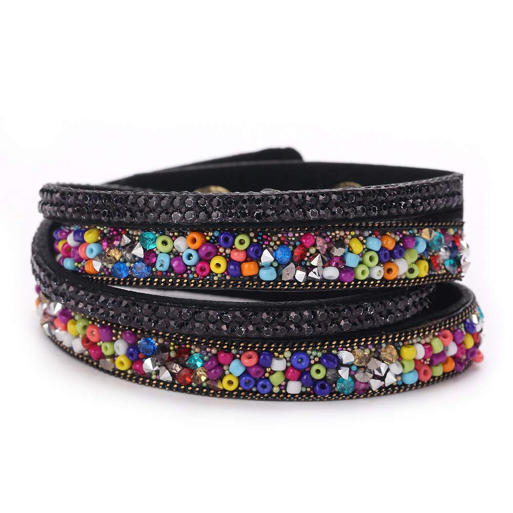 Women Bohemian Style Multi-Layer Multicolor Rhinestone Jewelry Bangle Charm Bracelets Gift for Girls Mens Teens Student Best Friend Forever(H)