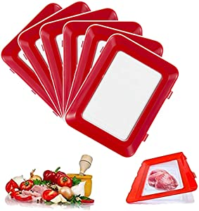 6Pcs Food Preservation Tray,Reusable Food Storage Container Creative Stackable Food Preservation Tray Vacuum Preservation Tray with Elastic Lid, for Vegetable Fruit Meat Fish
