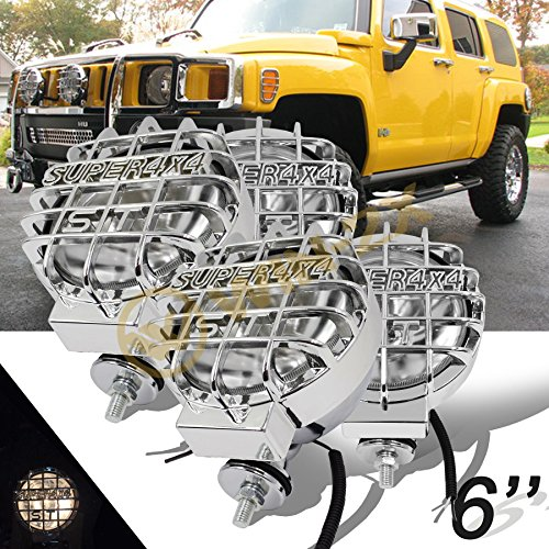 "WIN-2X New 4pcs 6"" Round Off-Road Chrome Metal Housing Clear Glass Lens Work Lights Fog Lamps With Super 4X4 Mesh Guards/Covers & H3 12V 55W Halogen Bulbs"