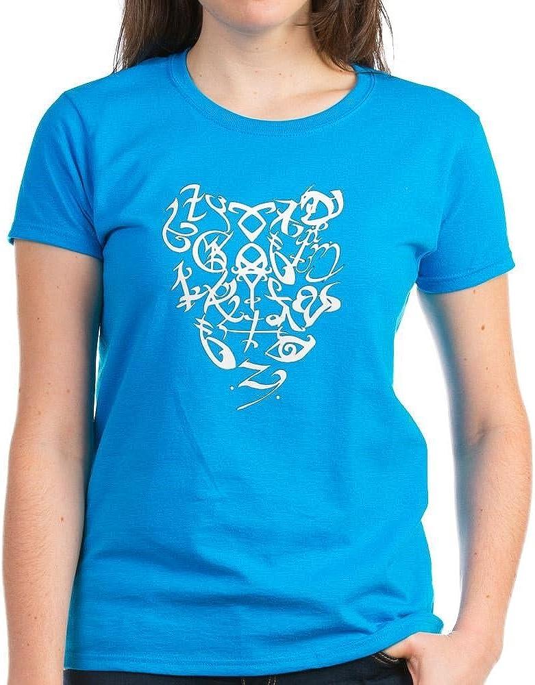 CafePress Cazadores de Sombras de corazón con Texto EN A - Oscuro T-Camiseta de Manga Corta para Mujer
