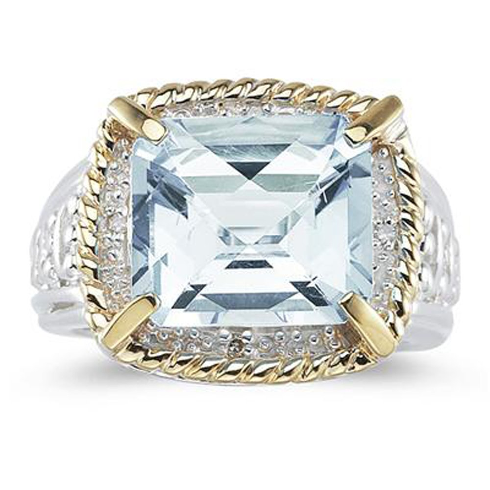 Silvernshine jewels 7.60 Ct Emerald Cut Aquamarine And Sim. Diamond Ring In 14K Two-Tone Plated