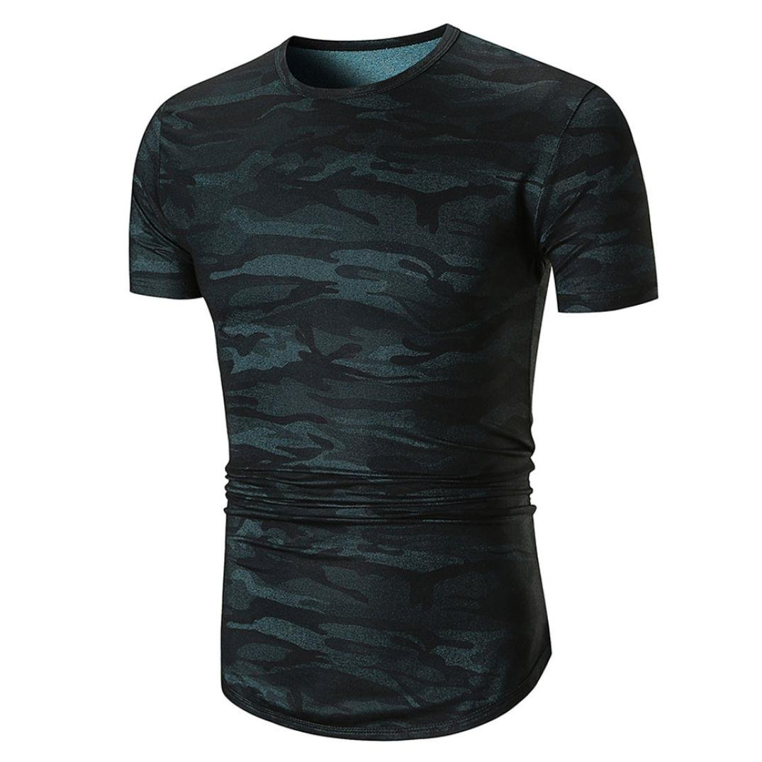 GREFER Men's New Style Casual Camouflage Print O Neck Pullover Short Sleeve T-shirt Top Blouse