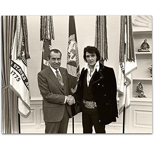 - Lone Star Art Nixon Meets Elvis Presley - 11x14 Unframed Print - Great Gift for Elvis Fans