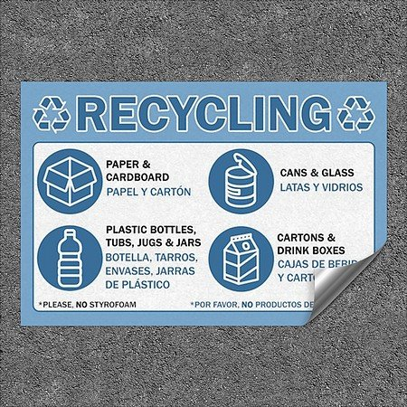 Amazon.com: CGSignLab |Recycling -Bilingual -Blue Heavy-Duty Industrial Self-Adhesive Aluminum Wall Decal (5-Pack) | 48