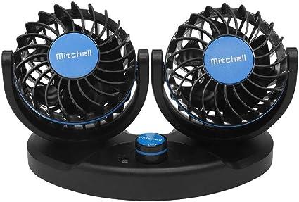 Ventilador Coche de Doble Cabeza Everpert Mini Ventilador USB 12V para Mesa, Camping, Coche, Oficina, Casa y Aire Libre (azul): Amazon.es: Coche y moto