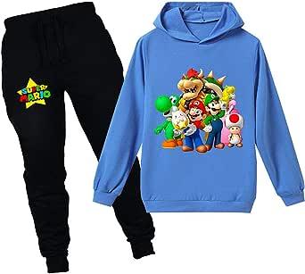 Super Mario - Sudadera con capucha para bebé y niños, juego de dibujos animados, ropa de ocio para niños y niñas, ropa de dormir de pijamas, 2-12 años