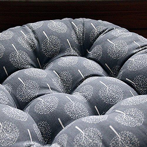 TMJJ Cotton & Linen Round Floor Pillow Cushion Japanese Style Futon Seat Cushion Thicken Chair Wave Window Pad 21'' x 21'',Set of 2 (Dark Happy Tree) by TMJJ Home (Image #2)