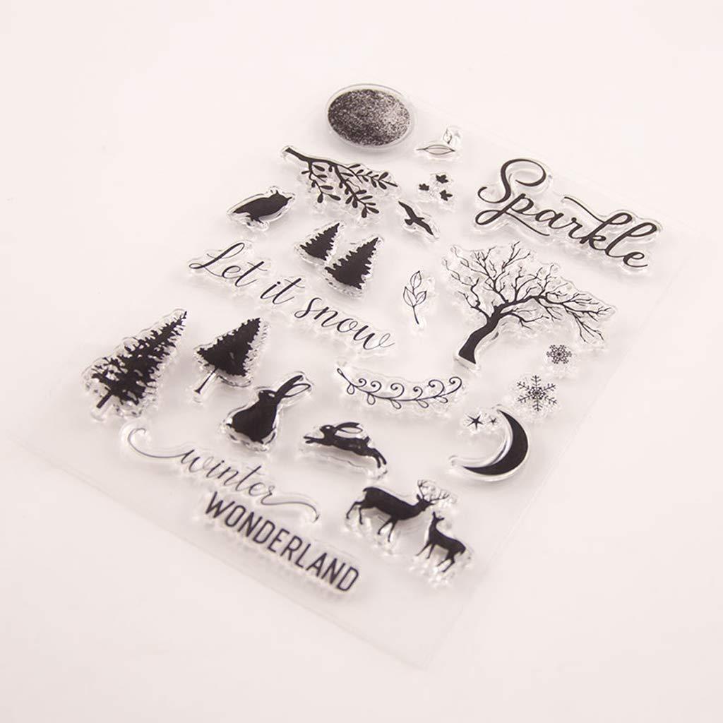 Cervo di Coniglio e Albero Angelliu Timbri Trasparenti in Silicone per Fai da Te Motivo