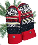 Integrity Designs Sweater Mittens, 100% Wool, Norwegian Navy and Red Fair Isle Pattern Polar Fleece Lining, Adult Size Medium / Large Ladies, Contrasting Button