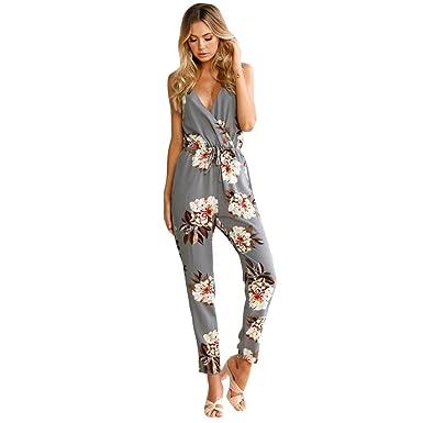 72b67558be YUAFOAE Femme Clubwear Sexy Sling ImpriméE sans Manches Combinaison  Pantalon Romper Chic pour SoiréE De Plage