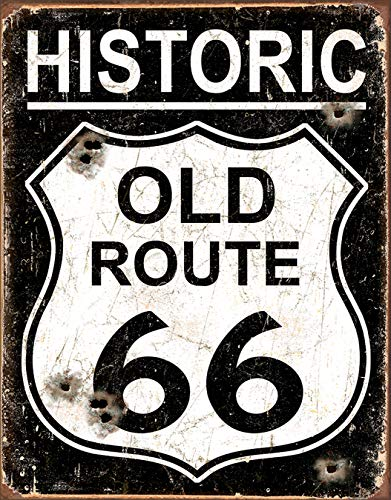 (Desperate Enterprises Historic Old Route 66 - Weathered Tin Sign, 12.5
