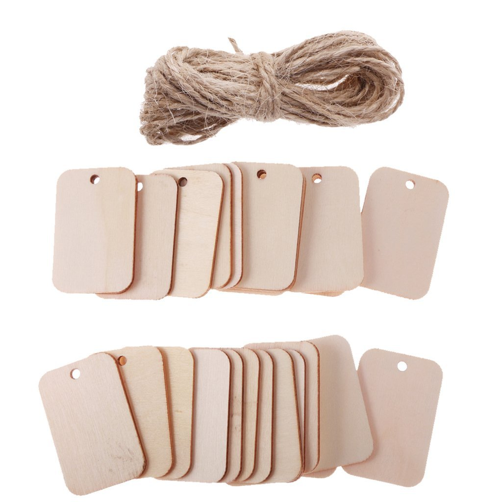 Yevison 25 Pieces Wooden Rectangle Craft Shape Tags Embellishments for Crafts Durable and Useful