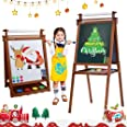 Dripex Kids Art Easel with Paper Roll Children's Day Double Sided Toddler Easel Chalkboard and Magnetic Dry Erase Board for K