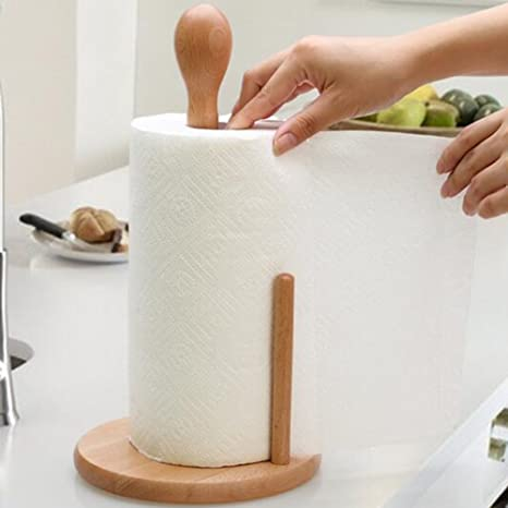 Toilet Paper Holders Toilet Paper Holder 1 Piece of Wooden Beechwood Kitchen Towel Roll Holder Stand (Color : 2)  - - Amazon.com