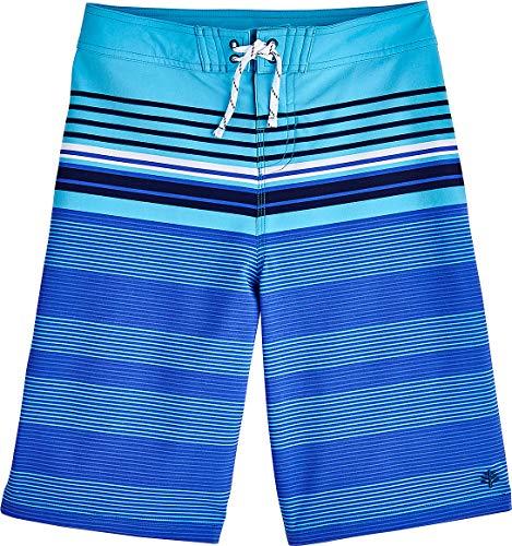 - Coolibar UPF 50+ Boy's Superbank Board Shorts - Sun Protective (Small- Blue Wave Rider Stripe)
