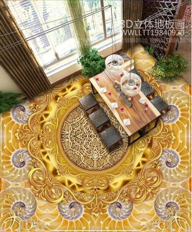 Ohcde Dheark 3D Smd 3D Stereo Wall Sticker Wallpaper Fresco Bathroom Floor Golden Luxury Jade Carving Bedroom Floor Sticker,430Cmx300Cm(169.3 By 118.1 In )