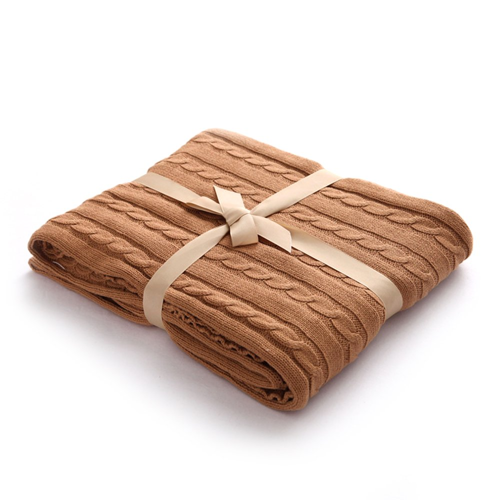 RuiXiang 100% Organic Cotton Cable Knit Throw Blanket Baby Blanket Sofa Blanket Bedroom/Bed/Couch/Car/Living Room/Office(47''x71''/120x180cm(Khaki)