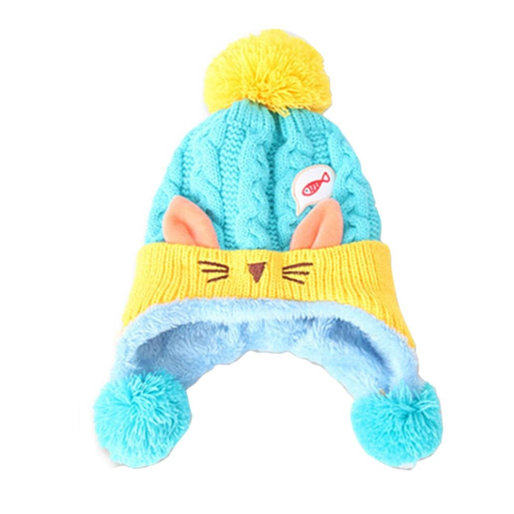Digood Suit for 1-4 Years Old Kids Baby Boys Girls Cute Beanie Cat Cotton Hat Children Print Knitting Hats