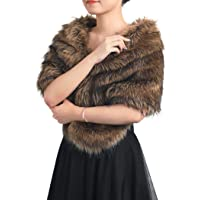 Gortin Women's Fur Shawl and Wraps Bride Wedding Faux Fur Stoles Sleeveless Fur Scarfs Fur Stoles for Brides and…