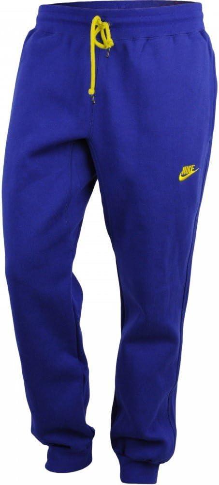 Nike Pantalón chándal Franela Hombre Azul Cobalto y Amarillo, BLU ...