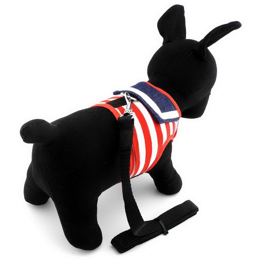 SMALLLEE_LUCKY_STORE Ropa para pequeños perros gatos conejos Diseño de rayas Sailor Juego de correa Arnés Chaleco malla acolchada plomo Rojo S: Amazon.es: ...