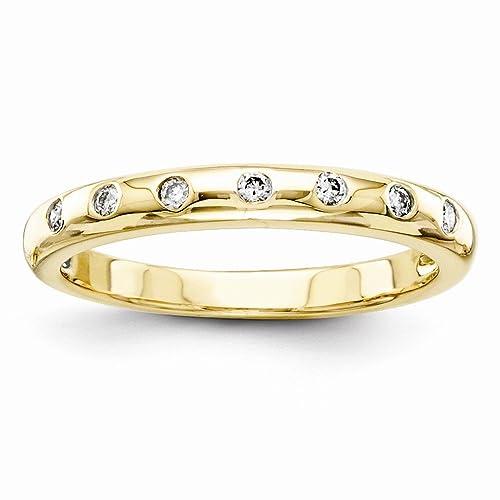 Amazon.com: Jewels By Lux 14k Diamond Wedding Band 0.1 Cttw ...