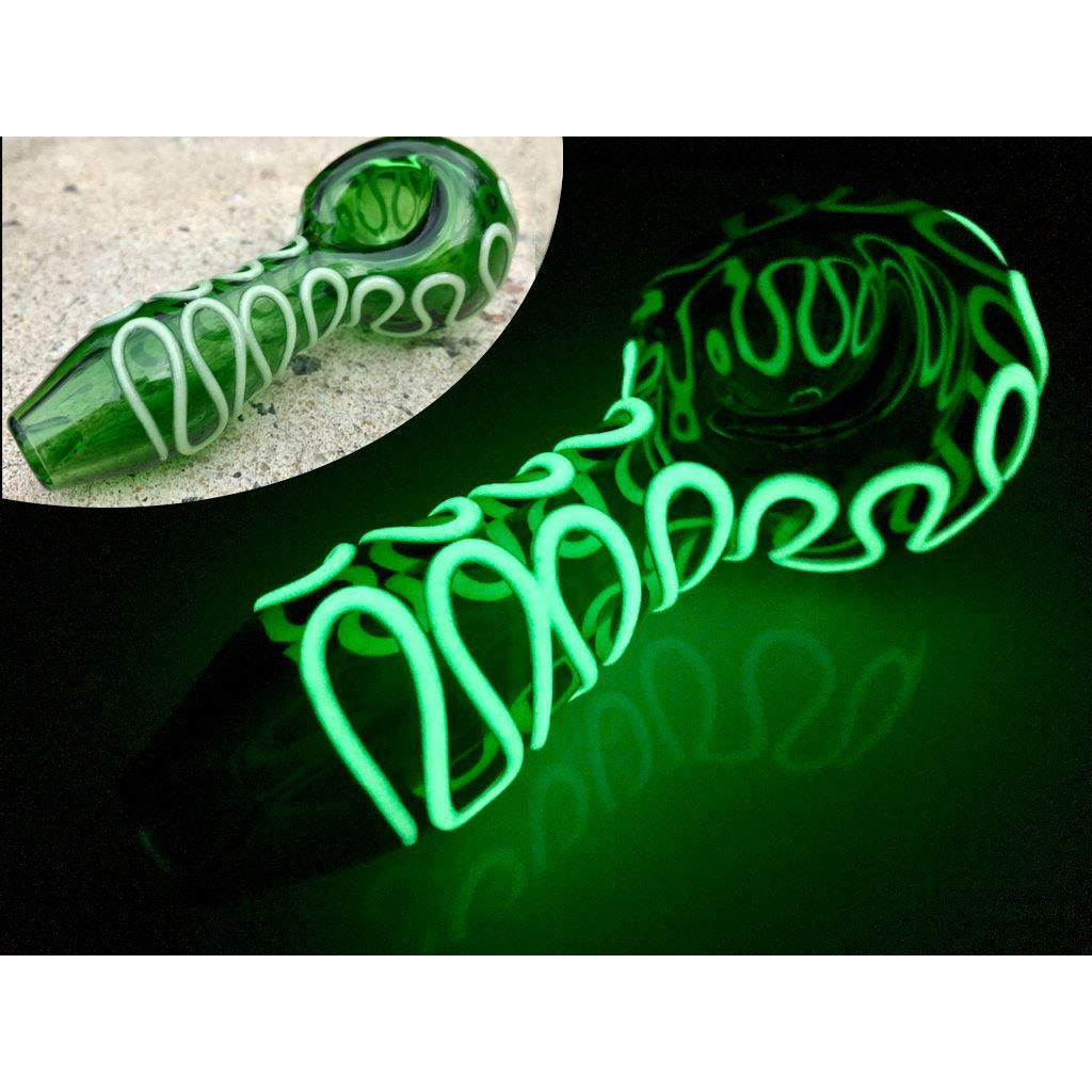4 inch Green Glass Artwork, Curve Style, Glow in The Dark Squiggly LPIPE
