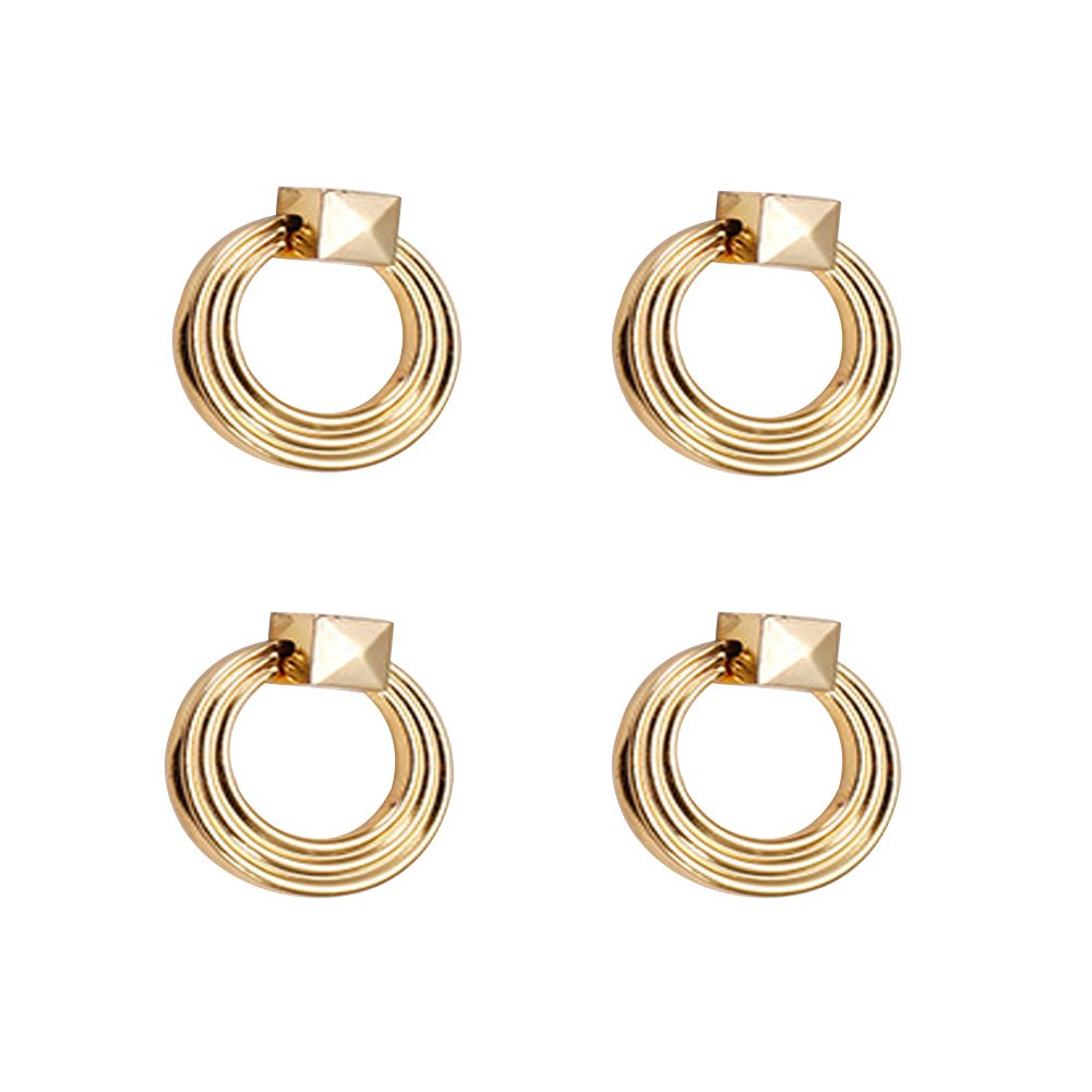 Bright Chrome Ufunny Ring Pull Handle Modern Single Span Drawer Cupboard Door Small Pull Hand Knob Ring Pack of 4