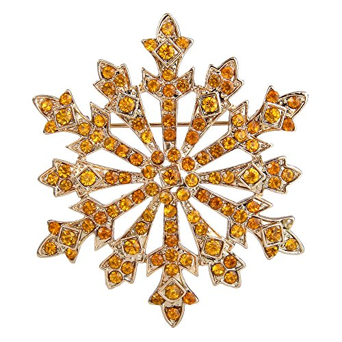 EVER FAITH Women's Austrian Crystal Winter Snowflake Brooch Yellow Gold-Tone ()