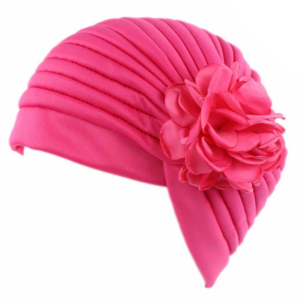 kingnew Mujeres Flores India elástico Turbante sombrero Muslim Pañuelo de cabeza wrap hijab Cap para caída del cabello, Rose Red: Amazon.es: Hogar