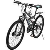 SSYUNO 26 Inch Mountain Trail Bike High Carbon Steel Full Suspension Frame Folding Bicycles 6 Spoke 21 Speed ​​Dual Disc…