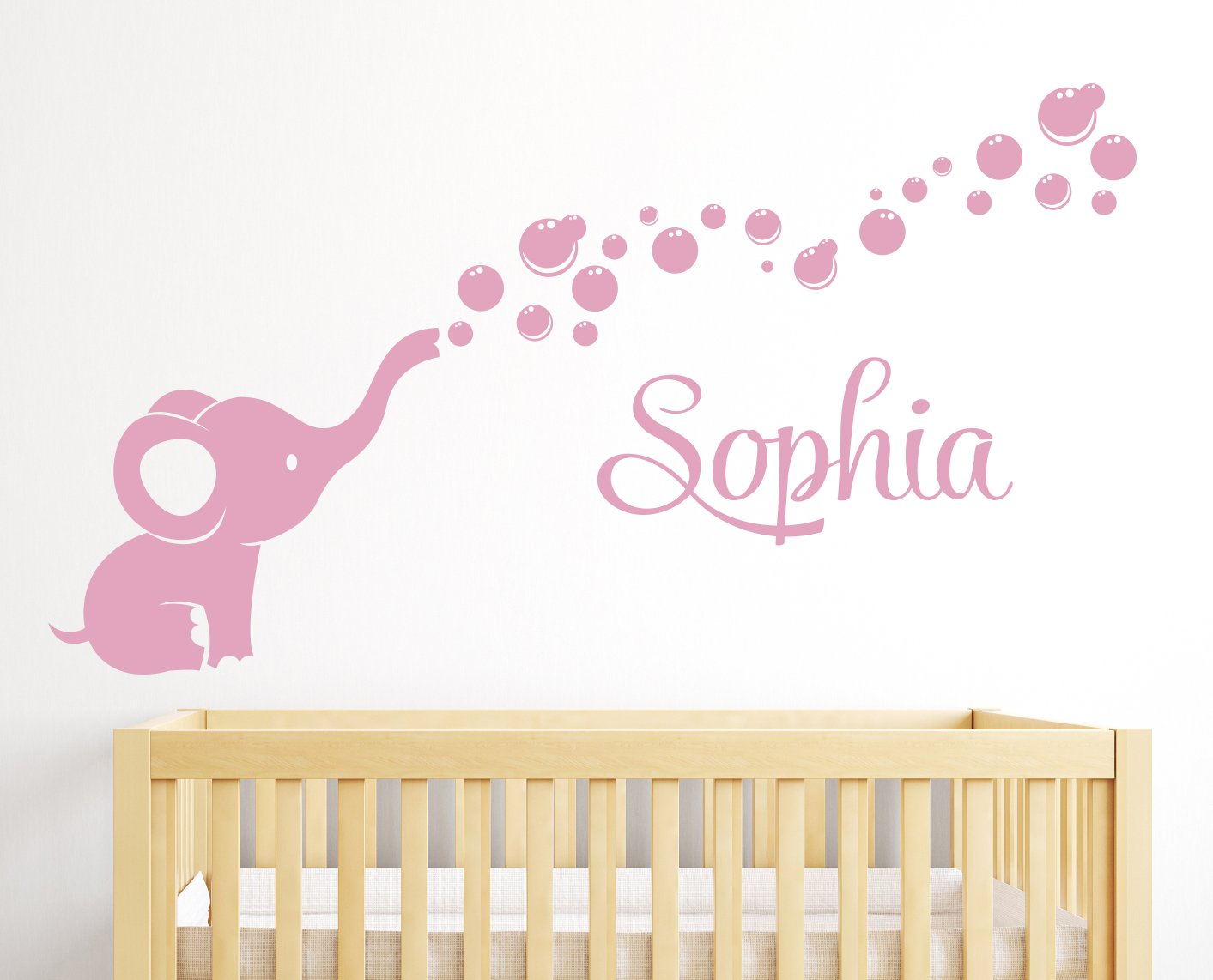 Name Elephant Bubbles Wall Decal Girl Nursery Decor by Lovely Decals World LLC