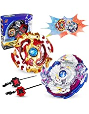 infinitoo New Burst Gyro Top with Launcher 4D Fusion Model Gyro Metal Combat | Battle Set Classic Toys for Adult Children (2 pcs)