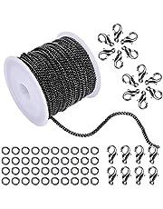 WXJ13 - 10 metros de cadena de eslabones abiertos de 2 mm de ancho de color negro, para la elaboración de accesorios de joyería