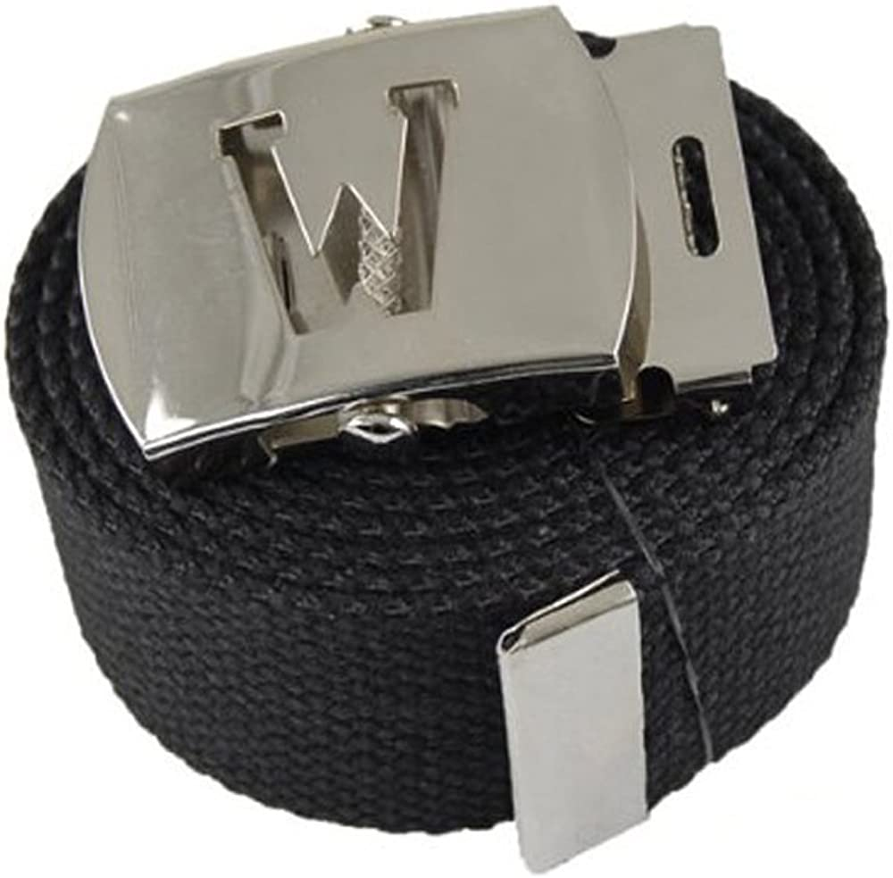 Capital Initial W Canvas Military Web Black Belt /& Silver Buckle 60 Inch